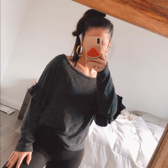 Zara ruffle sleeve grey boxy knit sweater